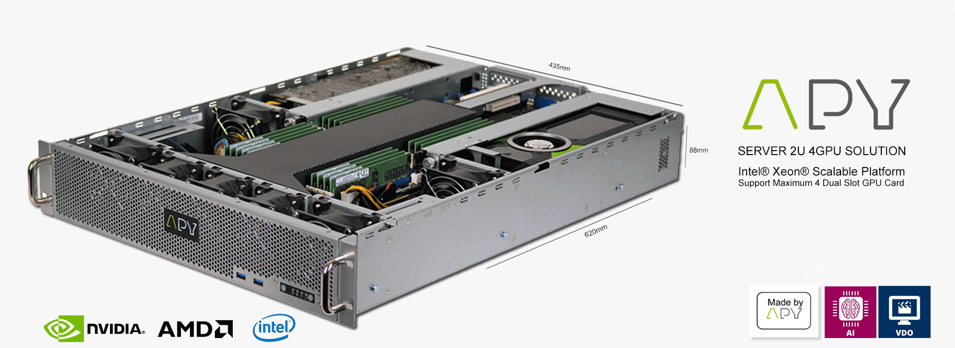 Discover the APY ONE G4 2U 4 GPU server made in APY